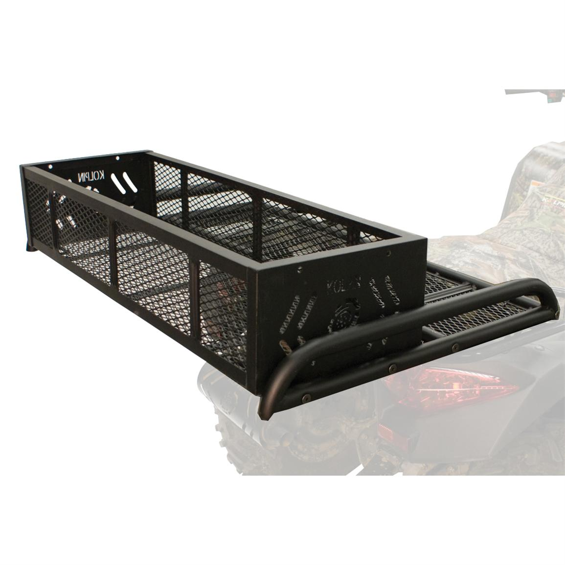 The convertible welded basket can be used with the rear rack extension in either the dropped or raised position