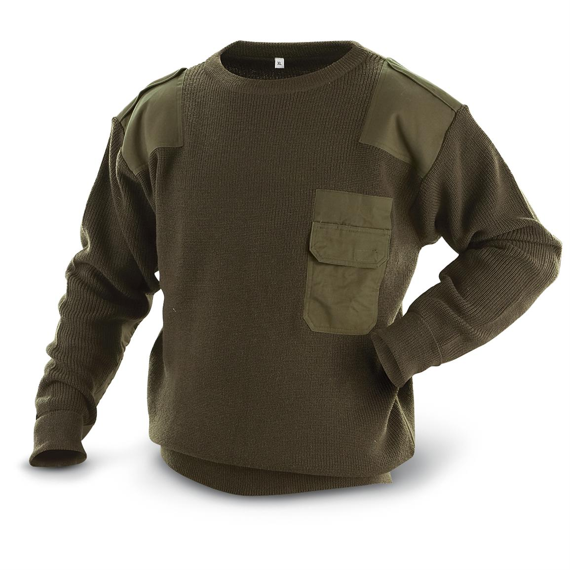 Military-style Commando Sweater, Olive Drab