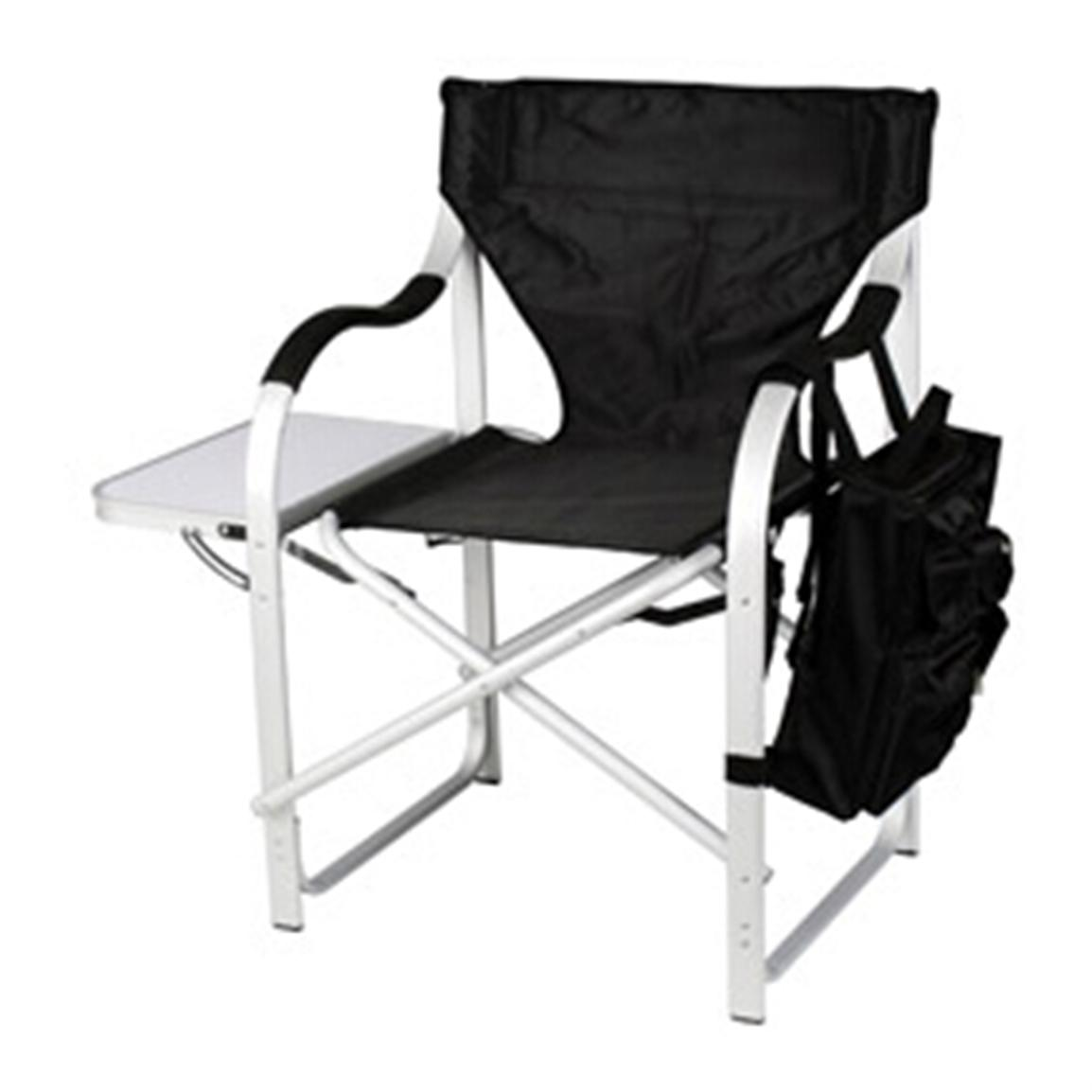 Stylish Camping Heavy-Duty, Full-Back Folding Director's Chair, Black