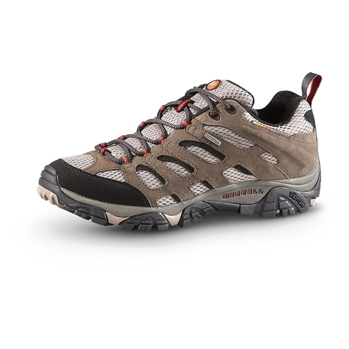Waterproof Merrell Men's Moab Hiking Shoes, Bark Brown
