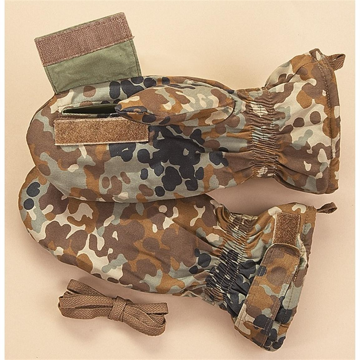 2 Prs. of New Size Large Chinese Military Surplus Shooters' Mittens, Camo