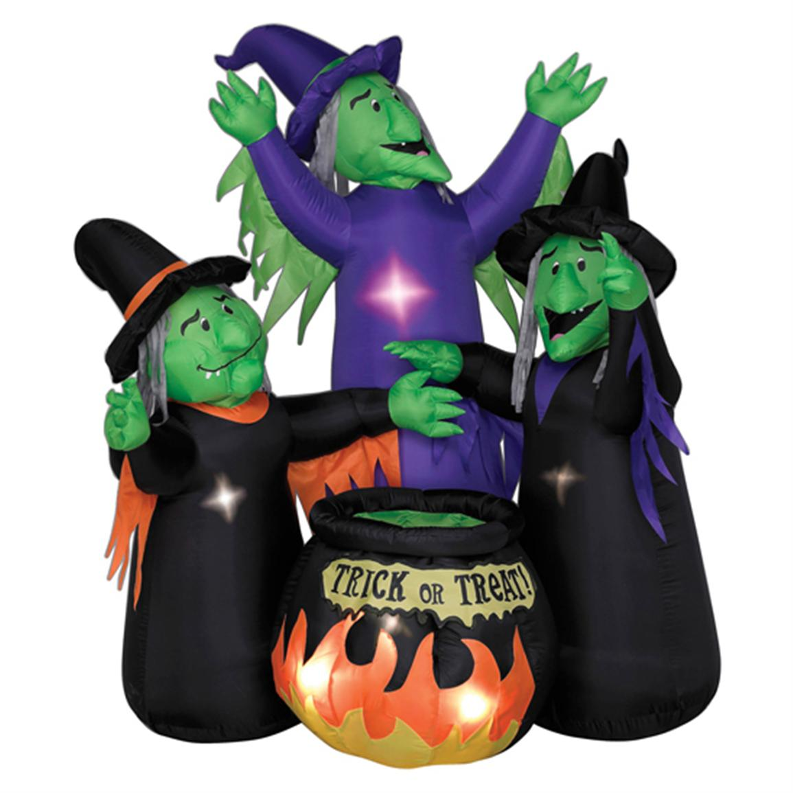 Animated Airblown 3 Witches with Cauldron