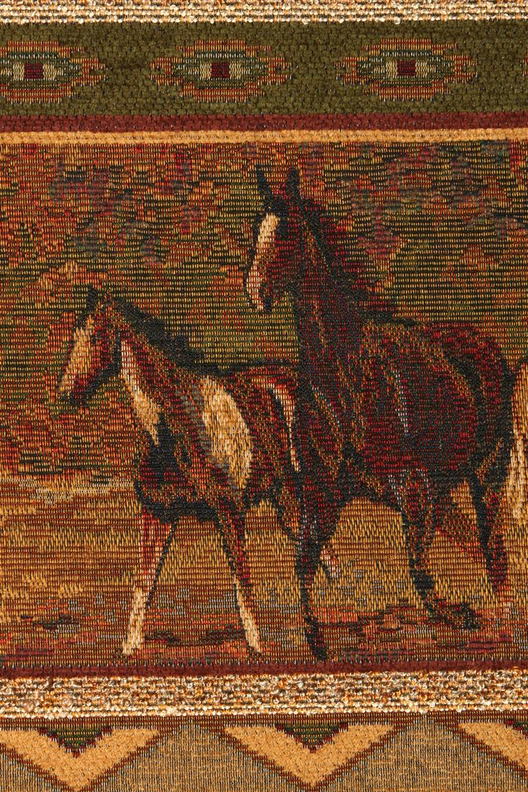 Beautiful tapestry fabricc of wild horses running in their natural element