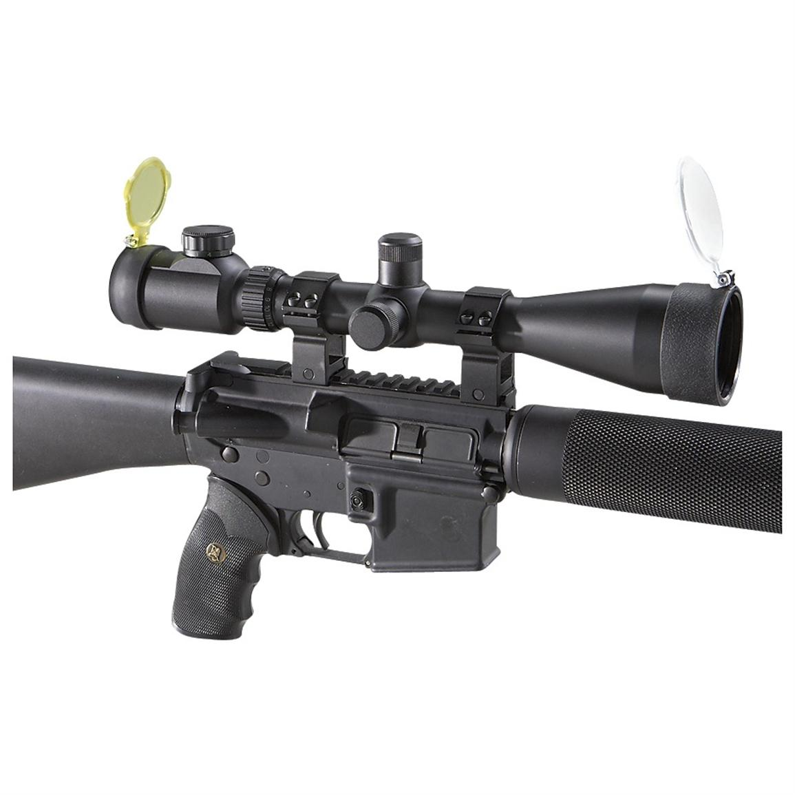 AIM Sports® 3-12x50 mm Scope with Rangefinding Reticle and 30 mm Rings, Matte Black