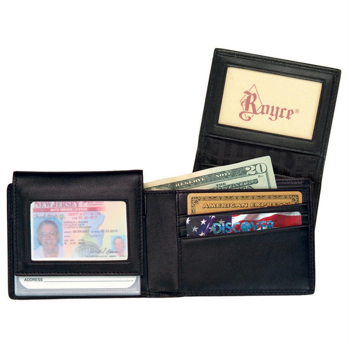 Men's Royce Leather® Removable ID Pass Case Wallet, Black