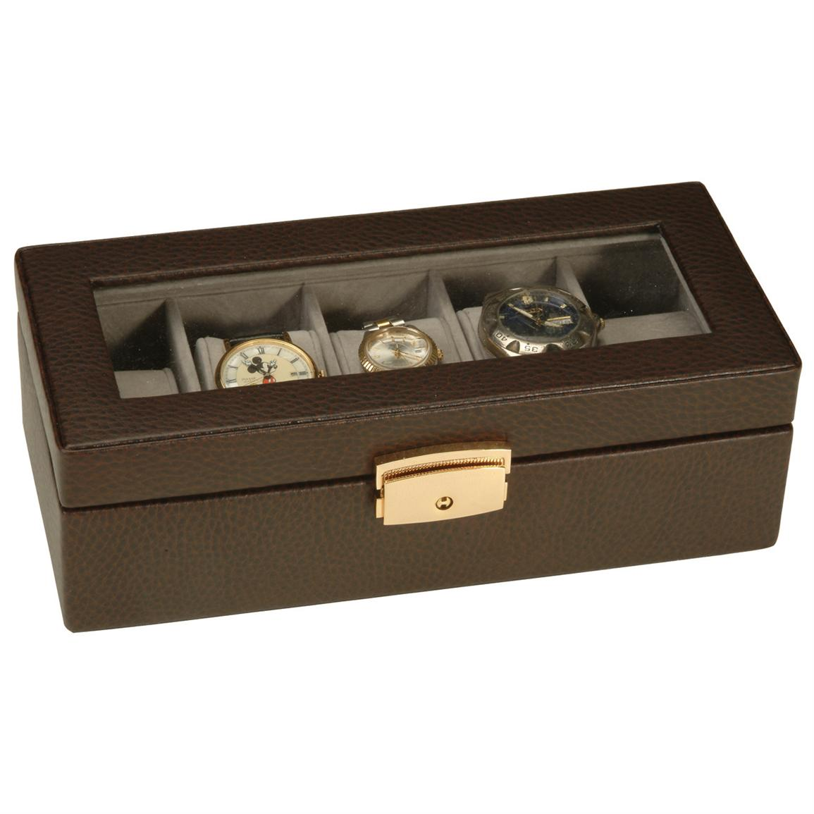 Royce Leather® 5-Slot Watch Box, Brown