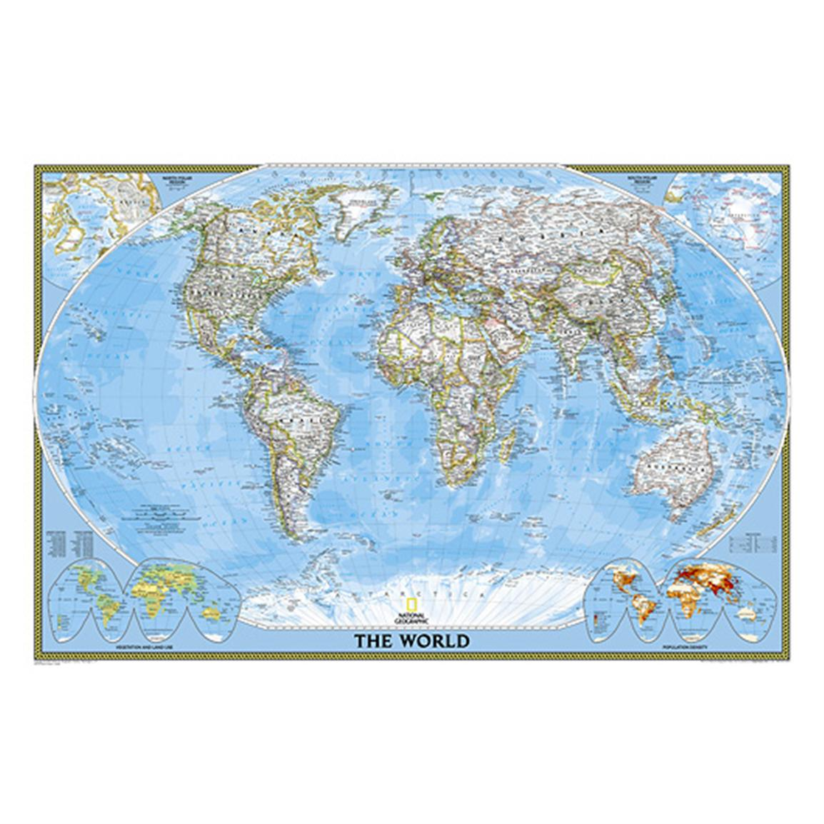 National Geographic™ World Classic Pacific-Centered Map