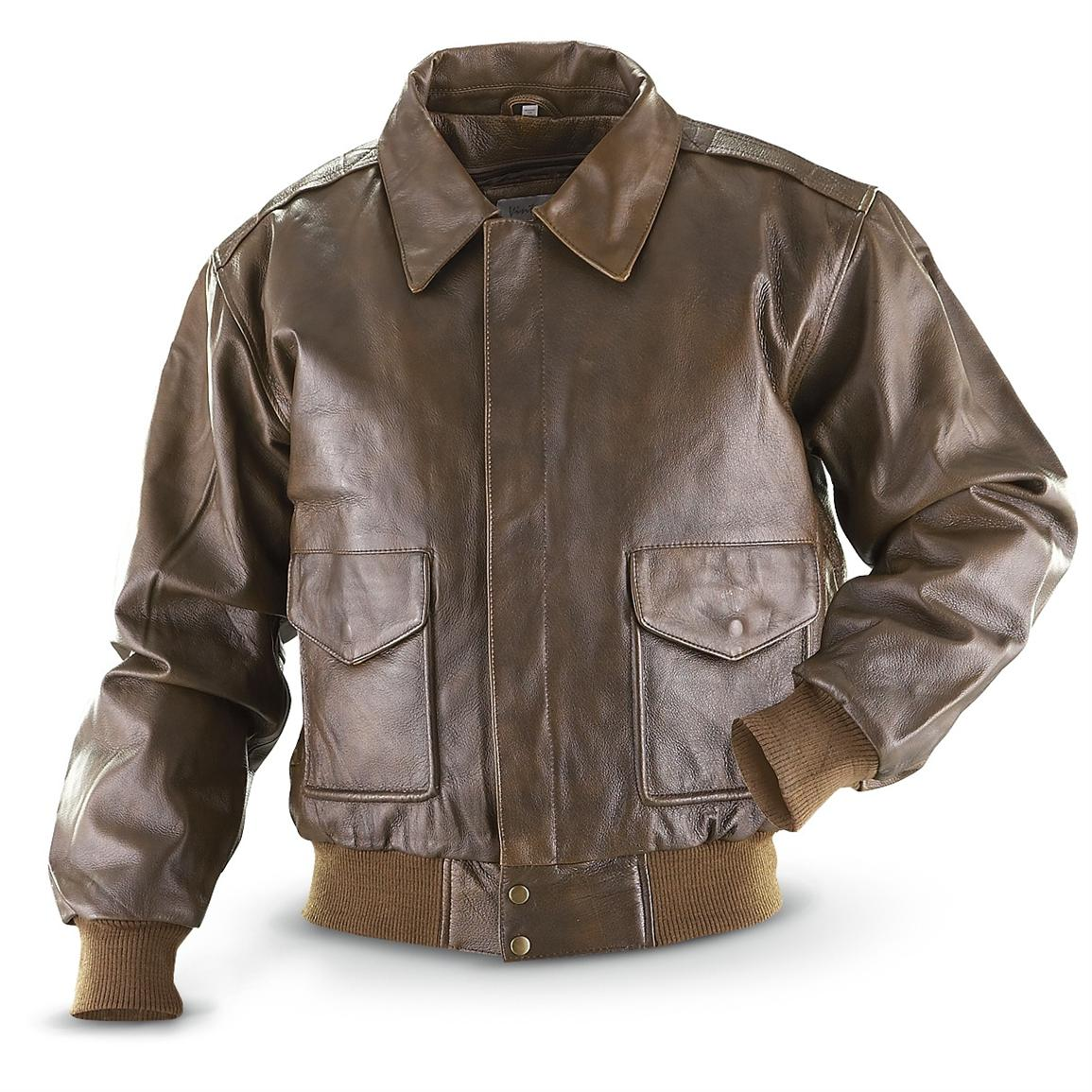 Vintage® Cowhide Bomber Jacket, Brown - 197922, Insulated Jackets ...