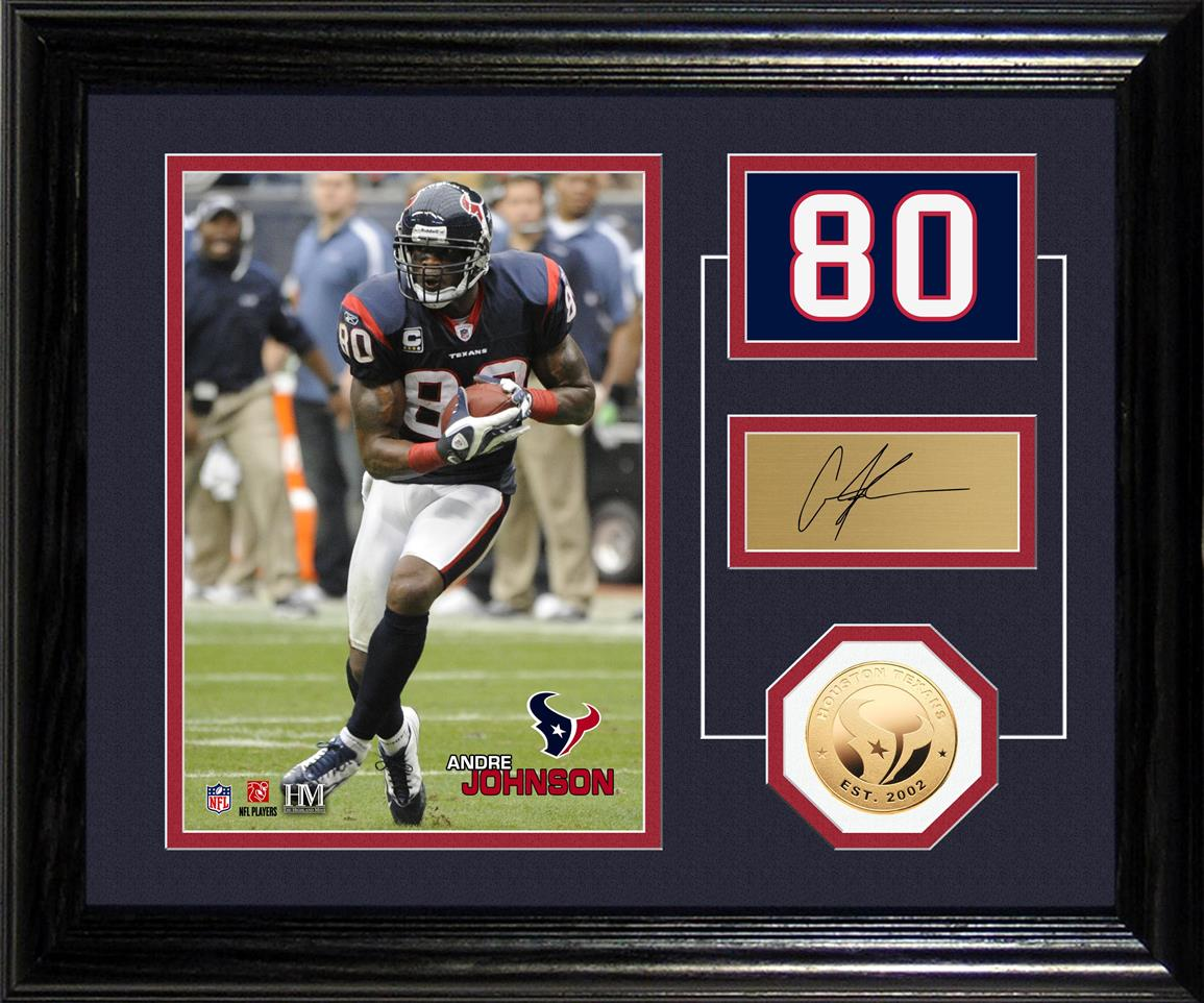 NFL Andre Johnson Player Pride Desktop Bronze Coin and Photo Display