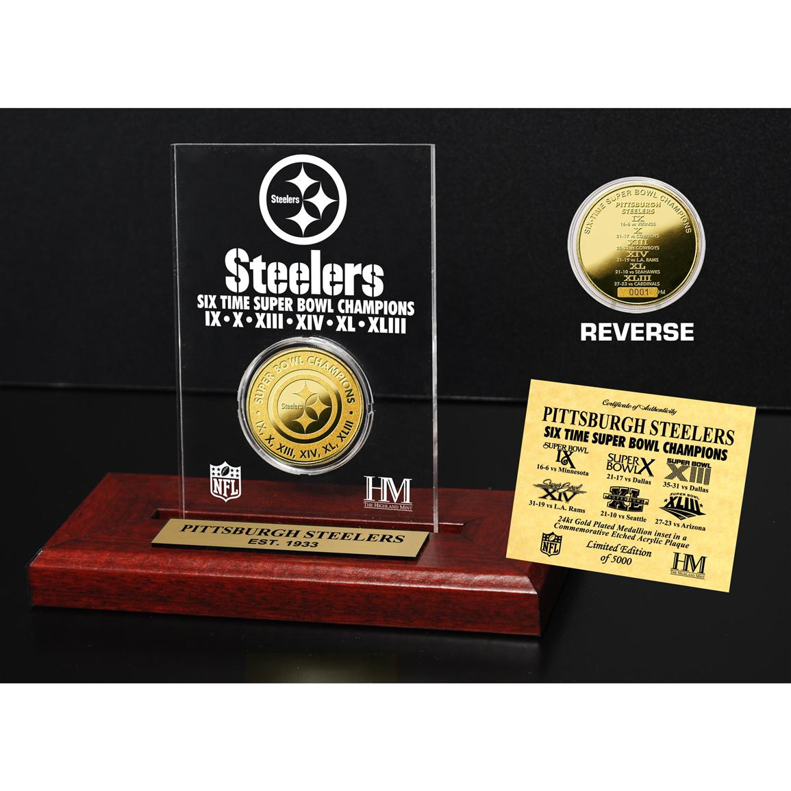 Highland Mint® Pittsburgh Steelers Super Bowl Champions 24-karat Gold Coin Acrylic Display