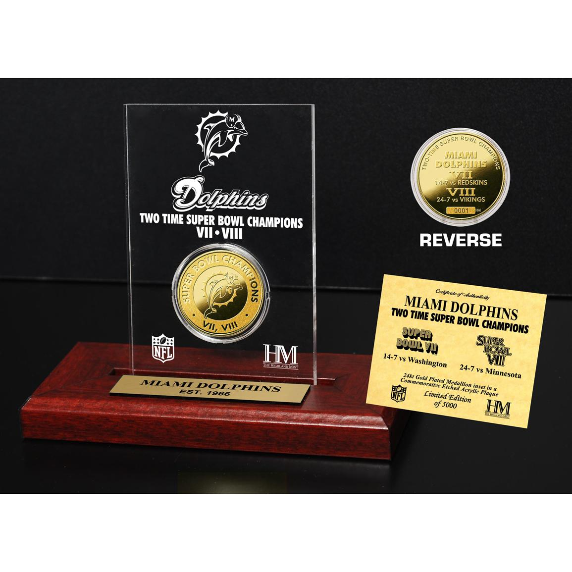 Highland Mint® Miami Dolphins Super Bowl Champions 24-karat Gold Coin Acrylic Display