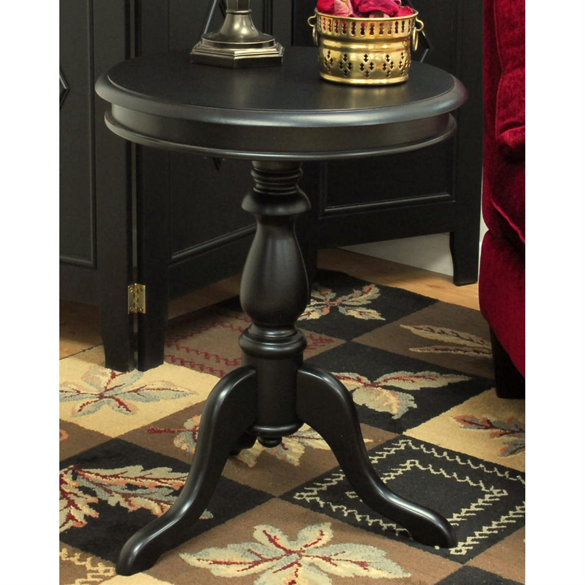 Carolina Chair & Table Co. Hepburn Pedestal Accent Table, Antique Black