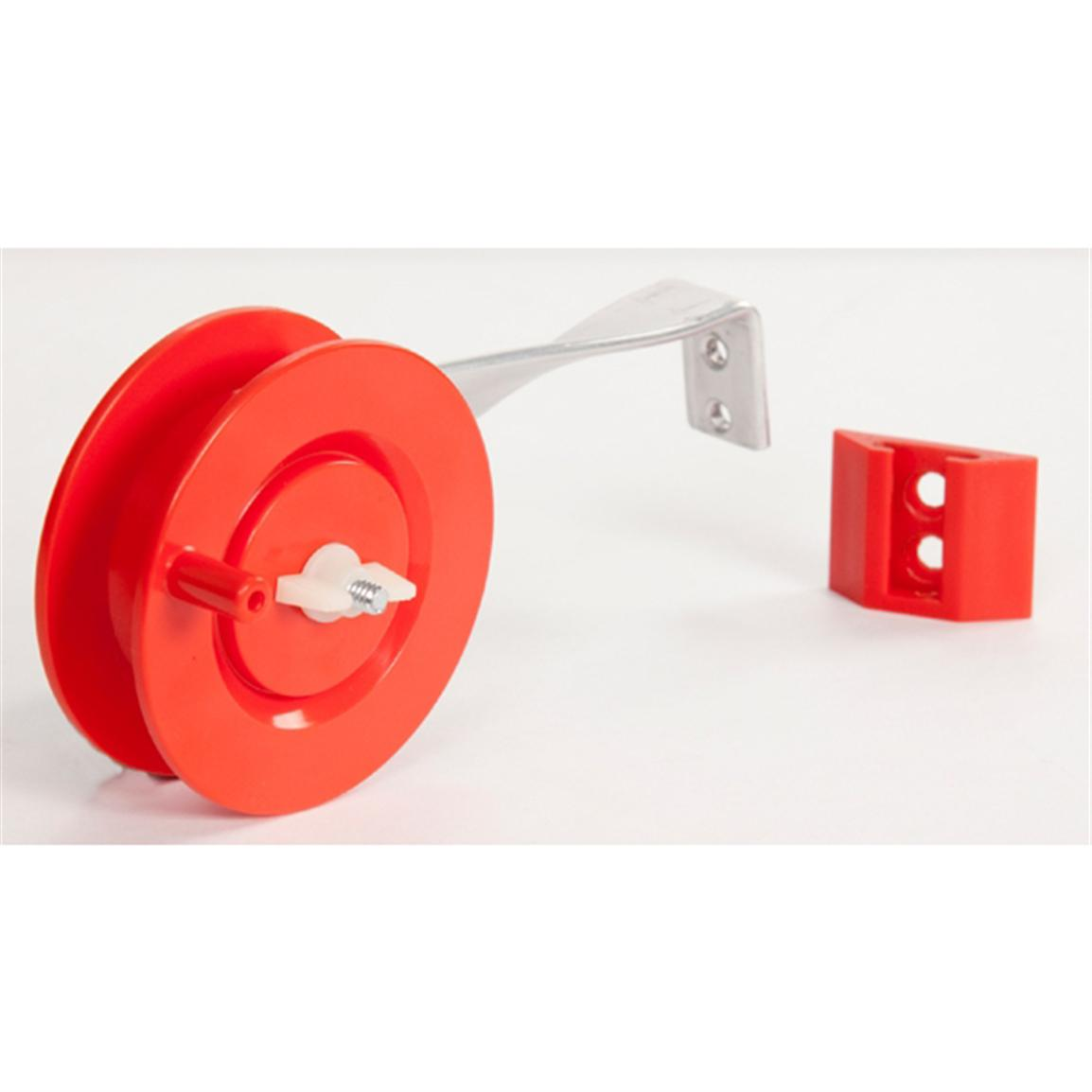 Pa plastic rattle reel long arm with bracket mount for Ice fishing rattle reels