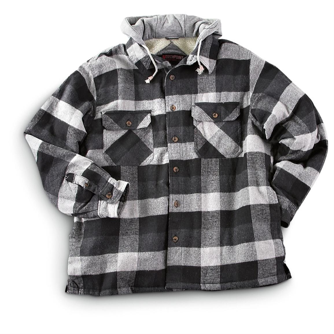 Northpoint fleece lined hooded flannel shirt jacket for Men s hooded flannel shirt jacket