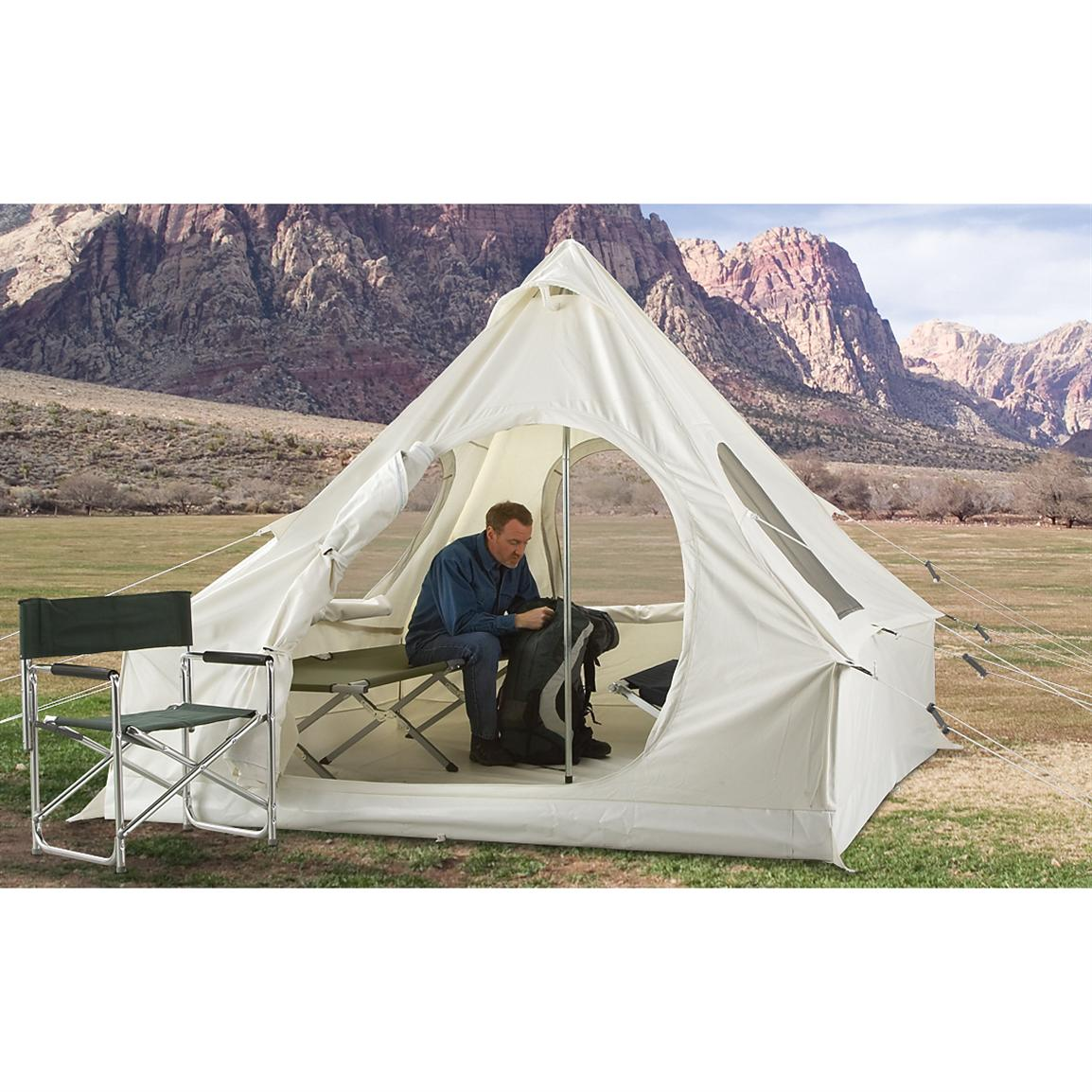 Guide gear canvas 8x8 39 lodge tent off white 200326 for Canvas wall tent reviews