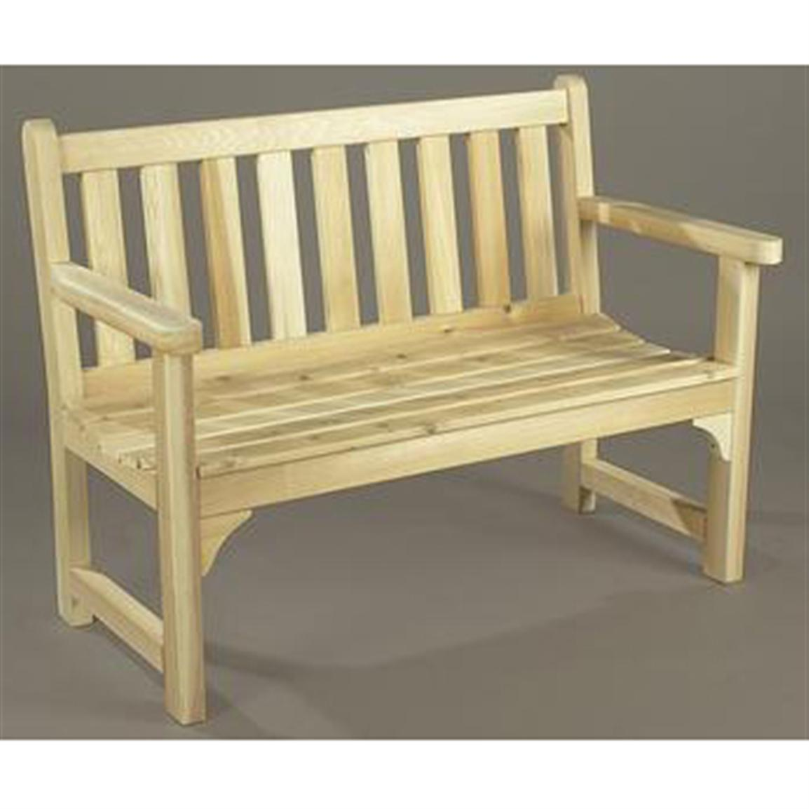 Rustic natural cedar unfinished english garden settee for Rustic outdoor furniture