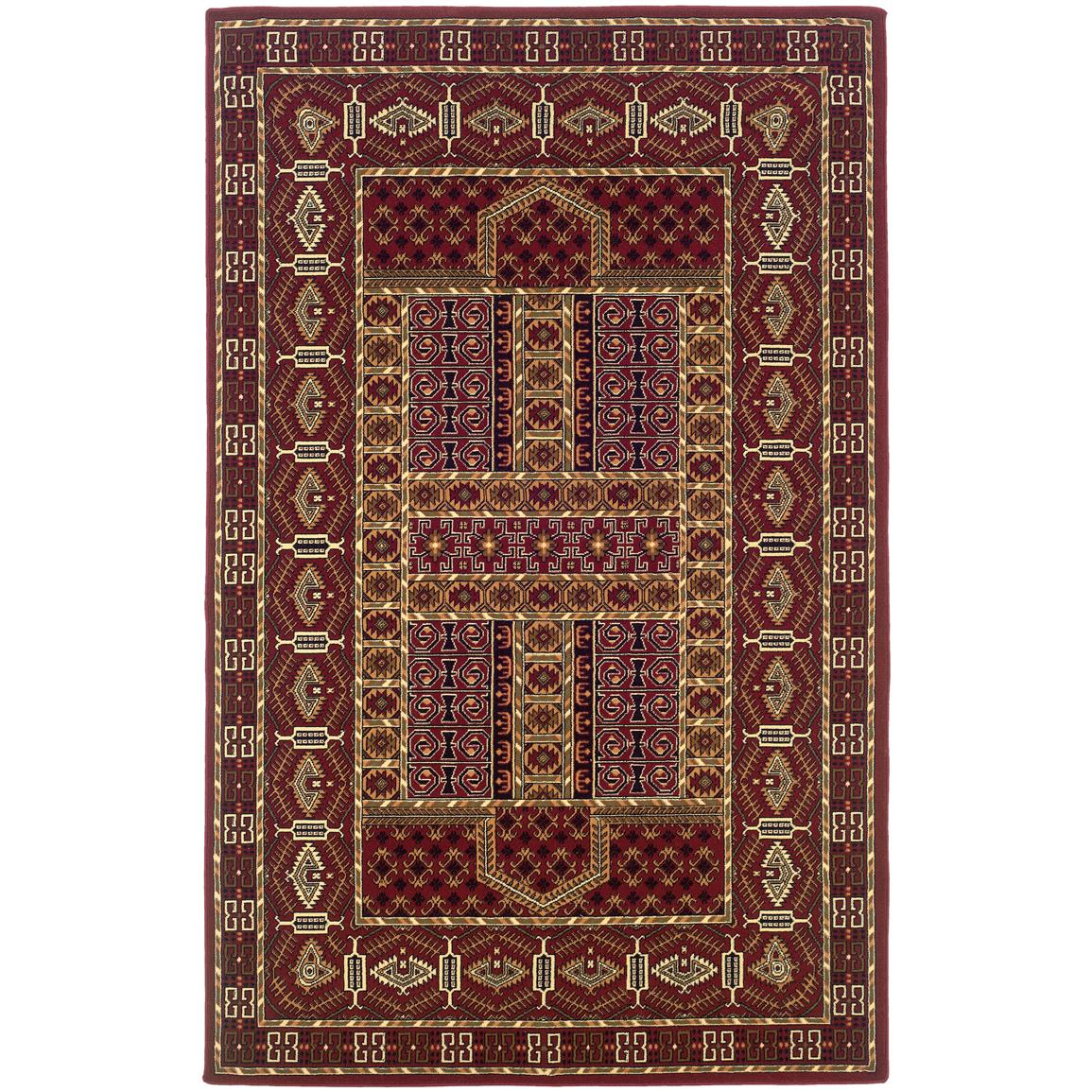 Linon Gem Belouch Rust, White and Burgundy Area Rug