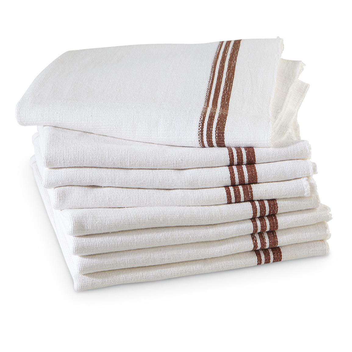 8 New Hungarian Military Towels, White with Brown Stripes