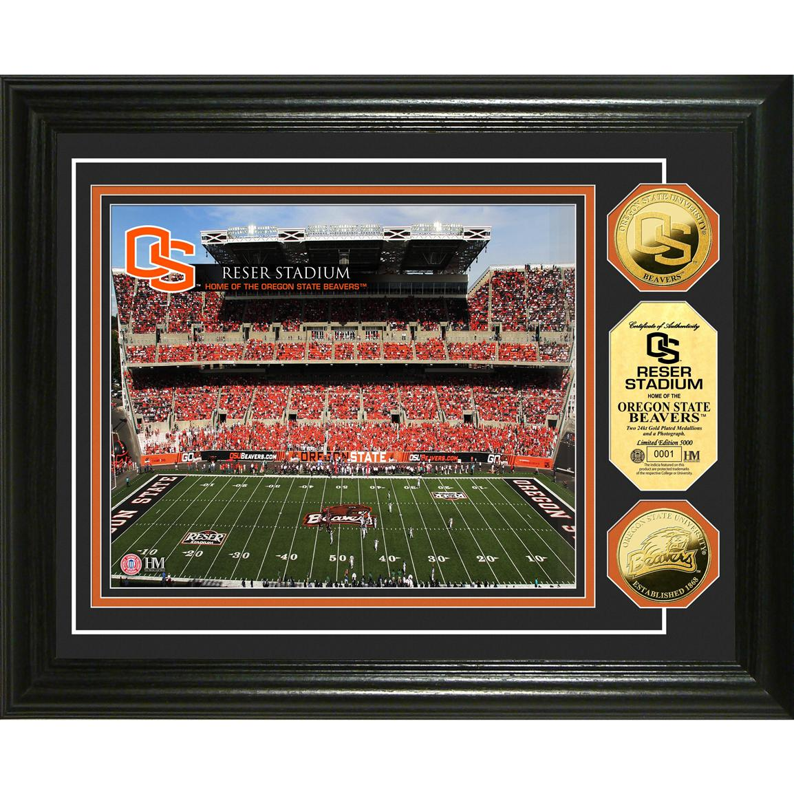 Highland Mint® Oregon State University Reser Stadium 24KT Gold Coin Photo Mint Display