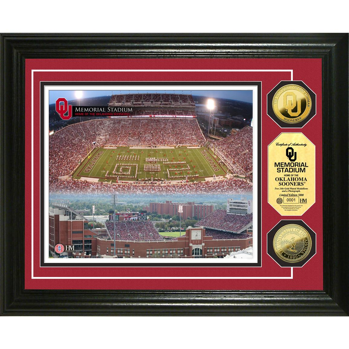 Highland Mint® University of Oklahoma Memorial Stadium 24KT Gold Coin Photo Mint Display