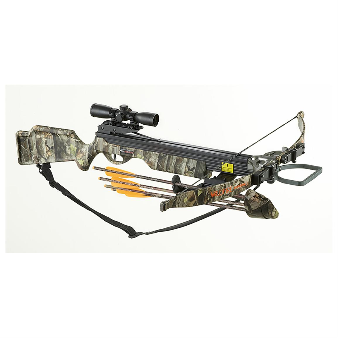 Arrow Precision™ Wildfire Crossbow Kit, Camo • Super-strong T-handled draw cord; Cocking is easy, fast and smooth, 4x32 mm Multi-reticle Scope