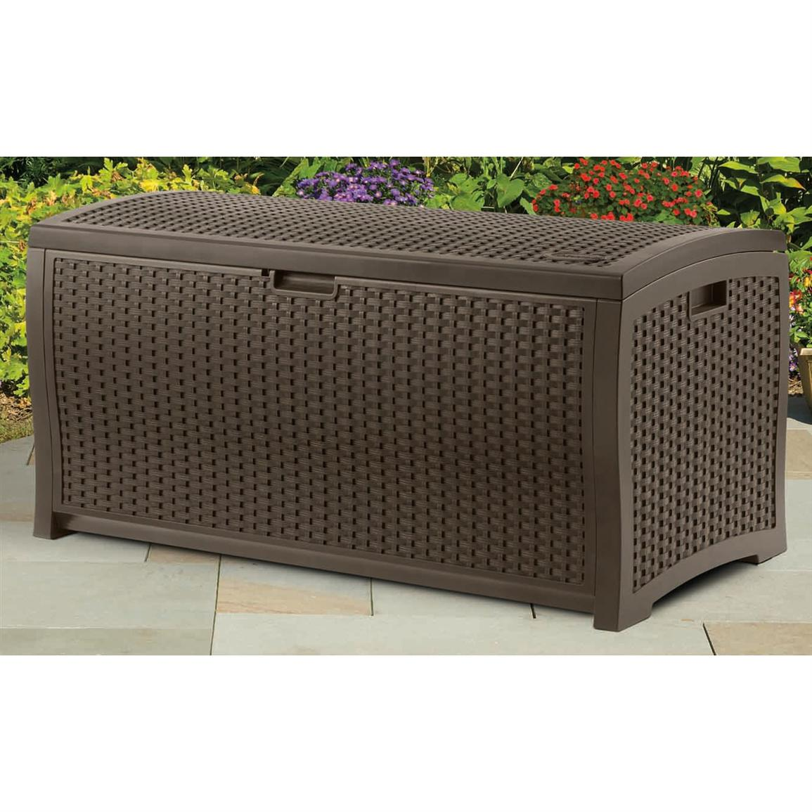 Suncast® Resin Wicker 73 - Gallon Deck Box