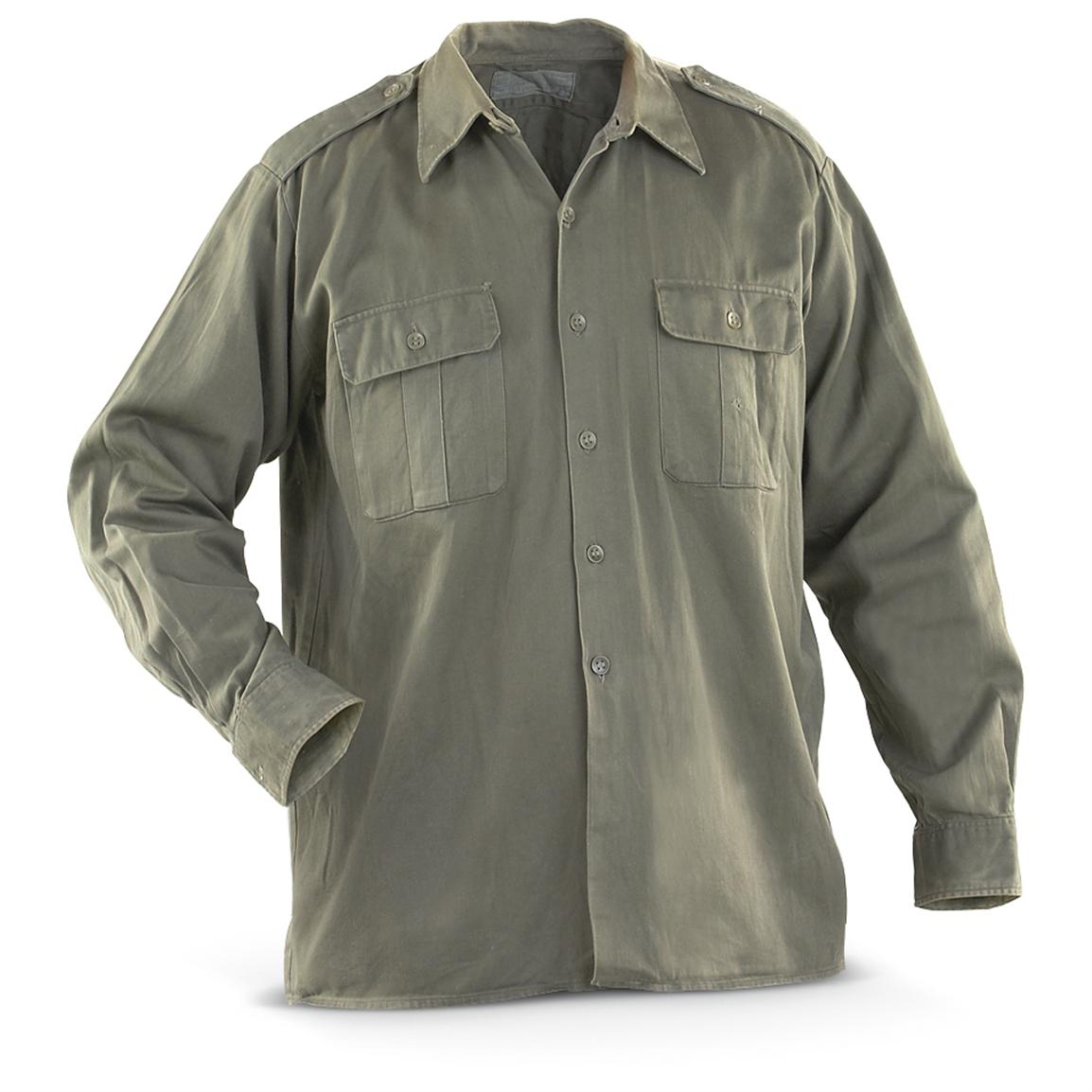 2-Pk. of Used Serbian Military Surplus Field Shirts, Olive Drab