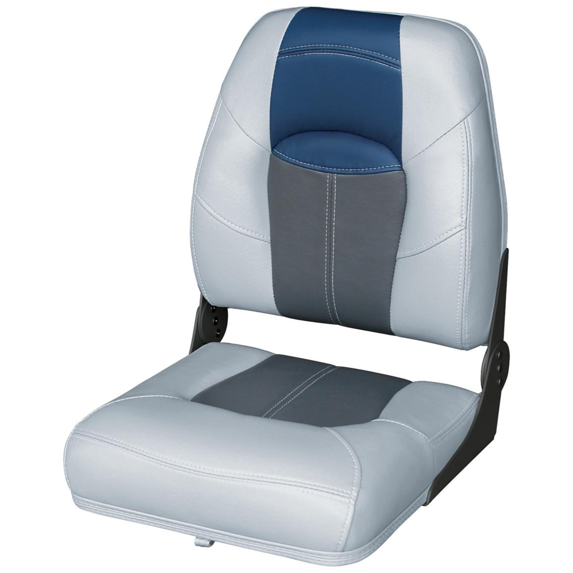 Wise® Blast-Off™ Series High Back Folding Boat Seat, Grey / Charcoal / Blue