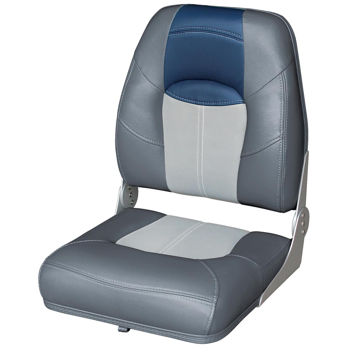 Wise® Blast-Off™ Series High Back Folding Boat Seat, Charcoal / Grey / Blue