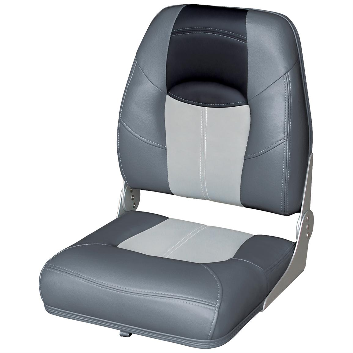 Wise® Blast-Off™ Series High Back Folding Boat Seat, Charcoal / Grey / Black