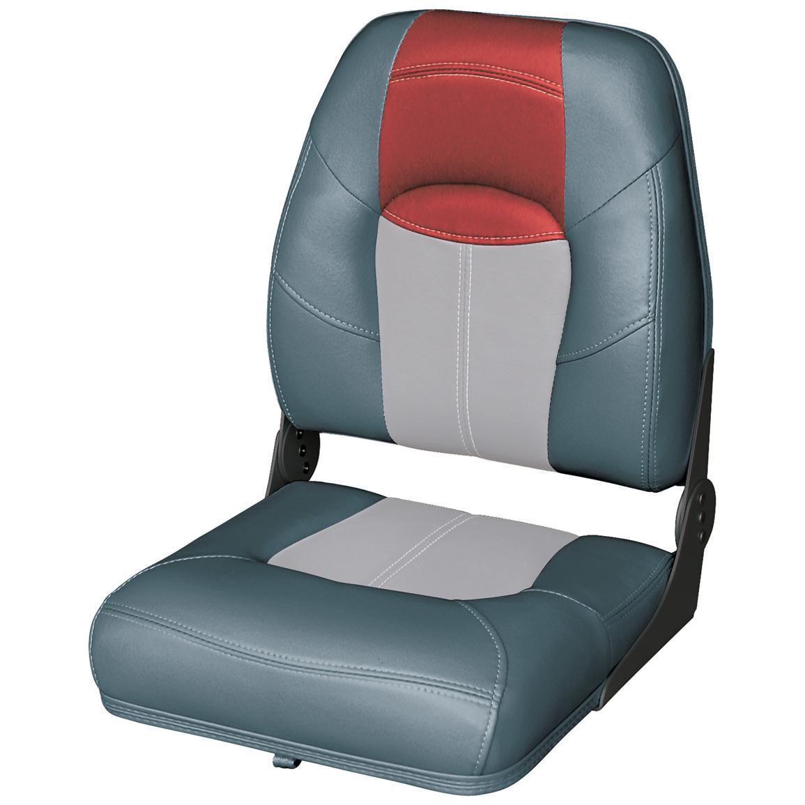 Wise® Blast-Off™ Series High Back Folding Boat Seat, Charcoal / Grey / Red