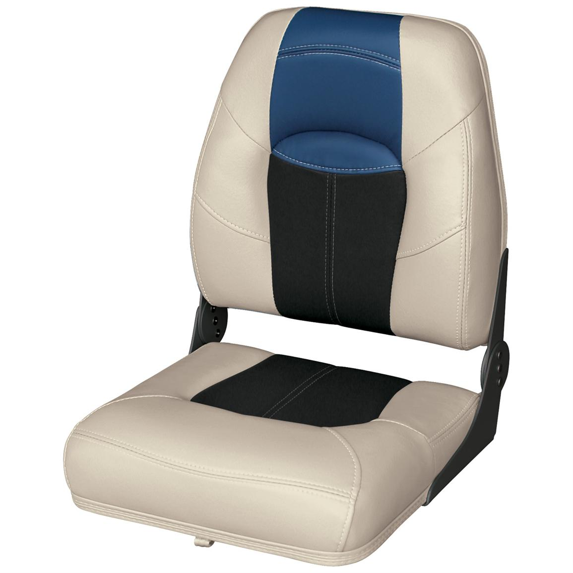 Wise® Blast-Off™ Series High Back Folding Boat Seat, Mushroom / Black / Blue