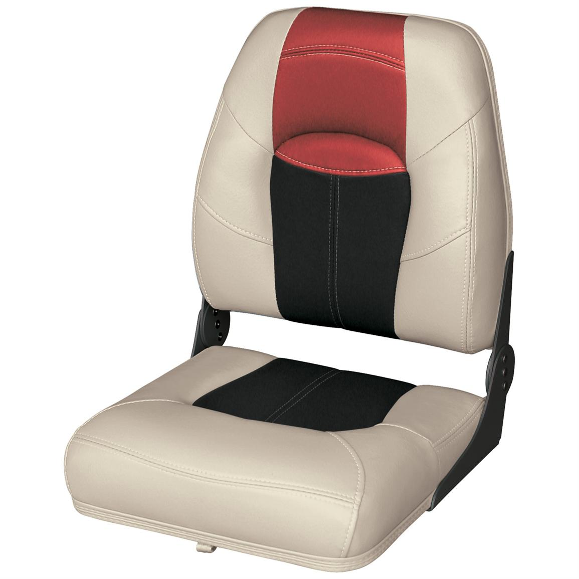 Wise® Blast-Off™ Series High Back Folding Boat Seat, Mushroom / Black / Red