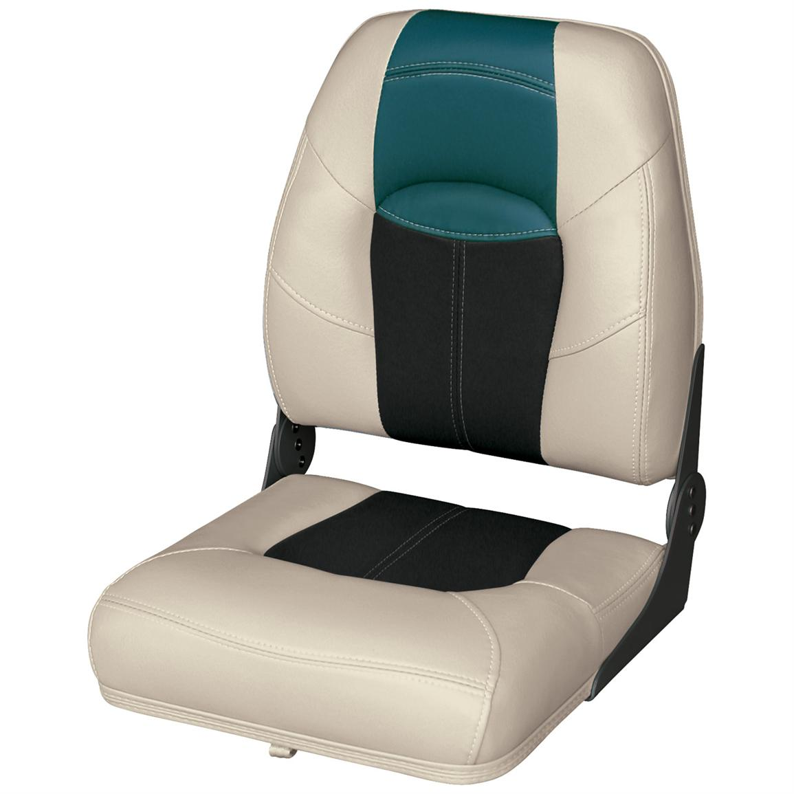 Wise® Blast-Off™ Series High Back Folding Boat Seat, Mushroom / Black / Green