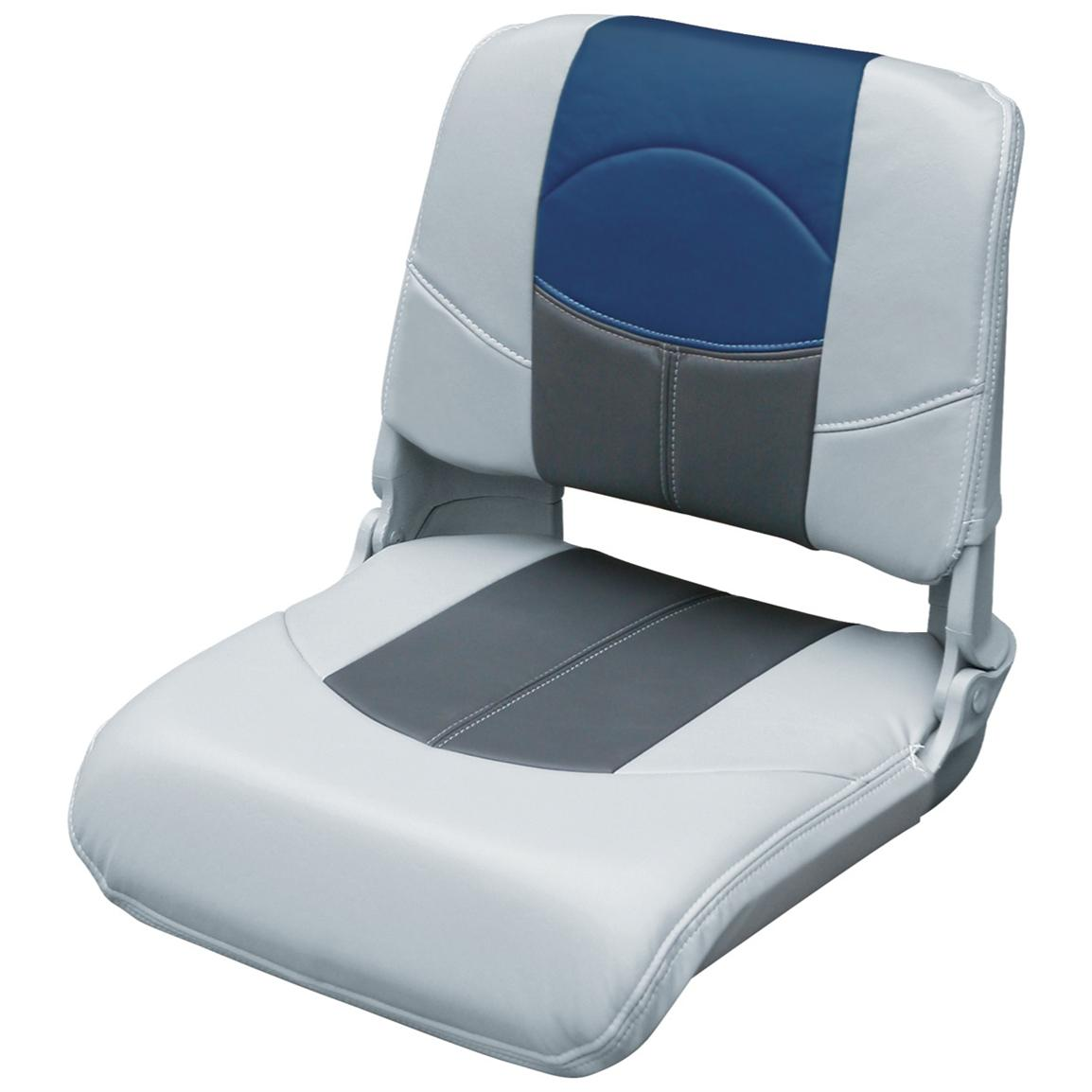 Wise® Blast-Off™ Series Pro-Style Folding Boat Seat, Grey / Charcoal / Blue