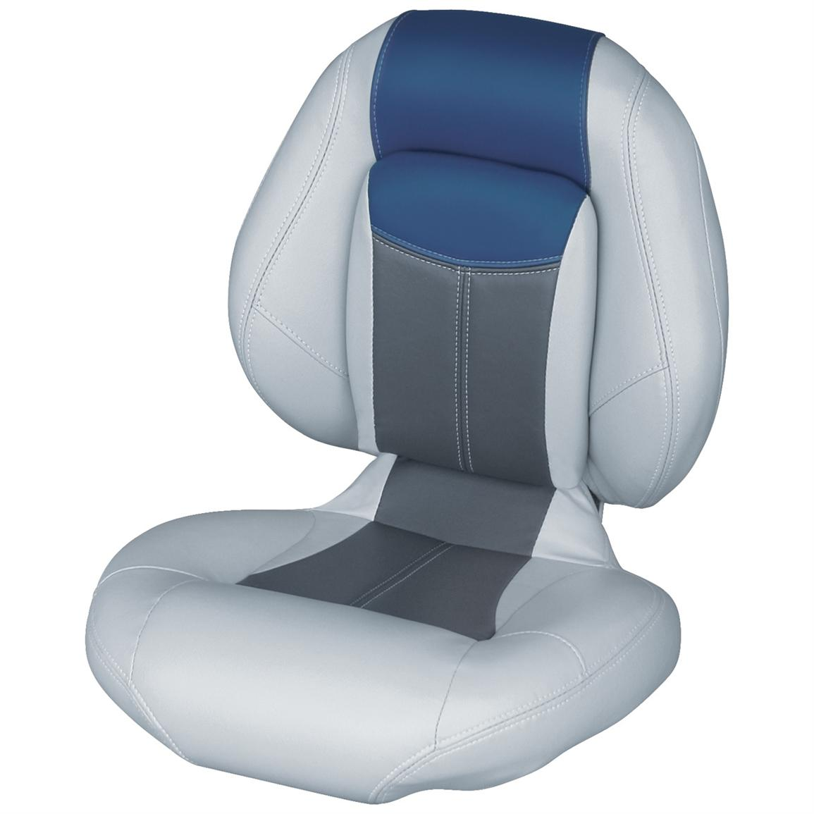 Wise® Blast-Off™ Series Centric 1 Folding Boat Seat, Grey / Charcoal / Blue