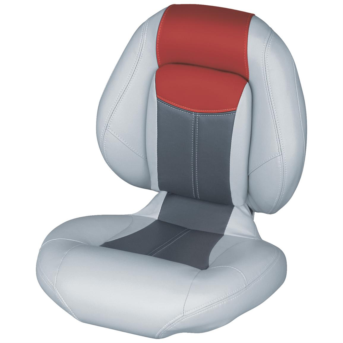 Wise® Blast-Off™ Series Centric 1 Folding Boat Seat, Grey / Charcoal / Red