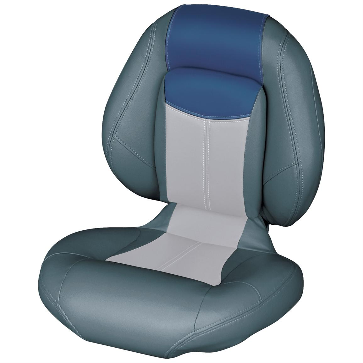 Wise® Blast-Off™ Series Centric 1 Folding Boat Seat, Charcoal / Grey / Blue