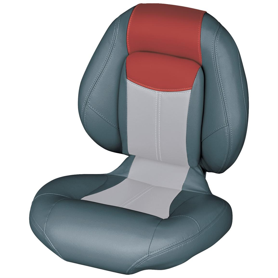 Wise® Blast-Off™ Series Centric 1 Folding Boat Seat, Charcoal / Grey / Red