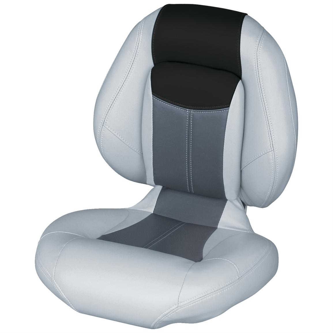 Wise® Blast-Off™ Series Centric 1 Folding Boat Seat, Grey / Charcoal / Black