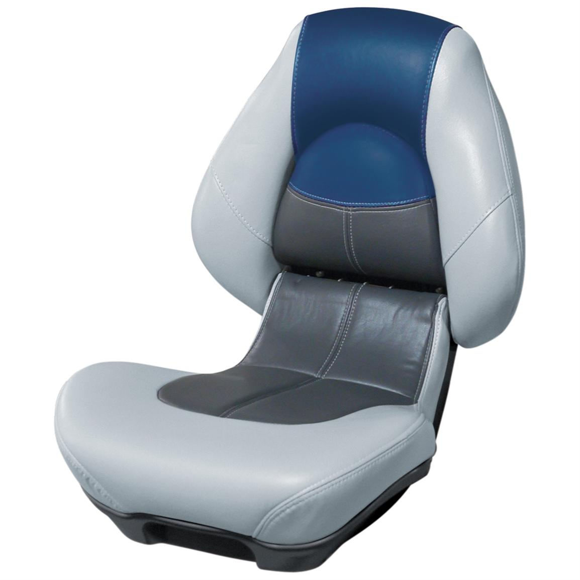 Wise® Blast-Off™ Series Centric 2 Folding Boat Seat, Grey / Charcoal / Blue