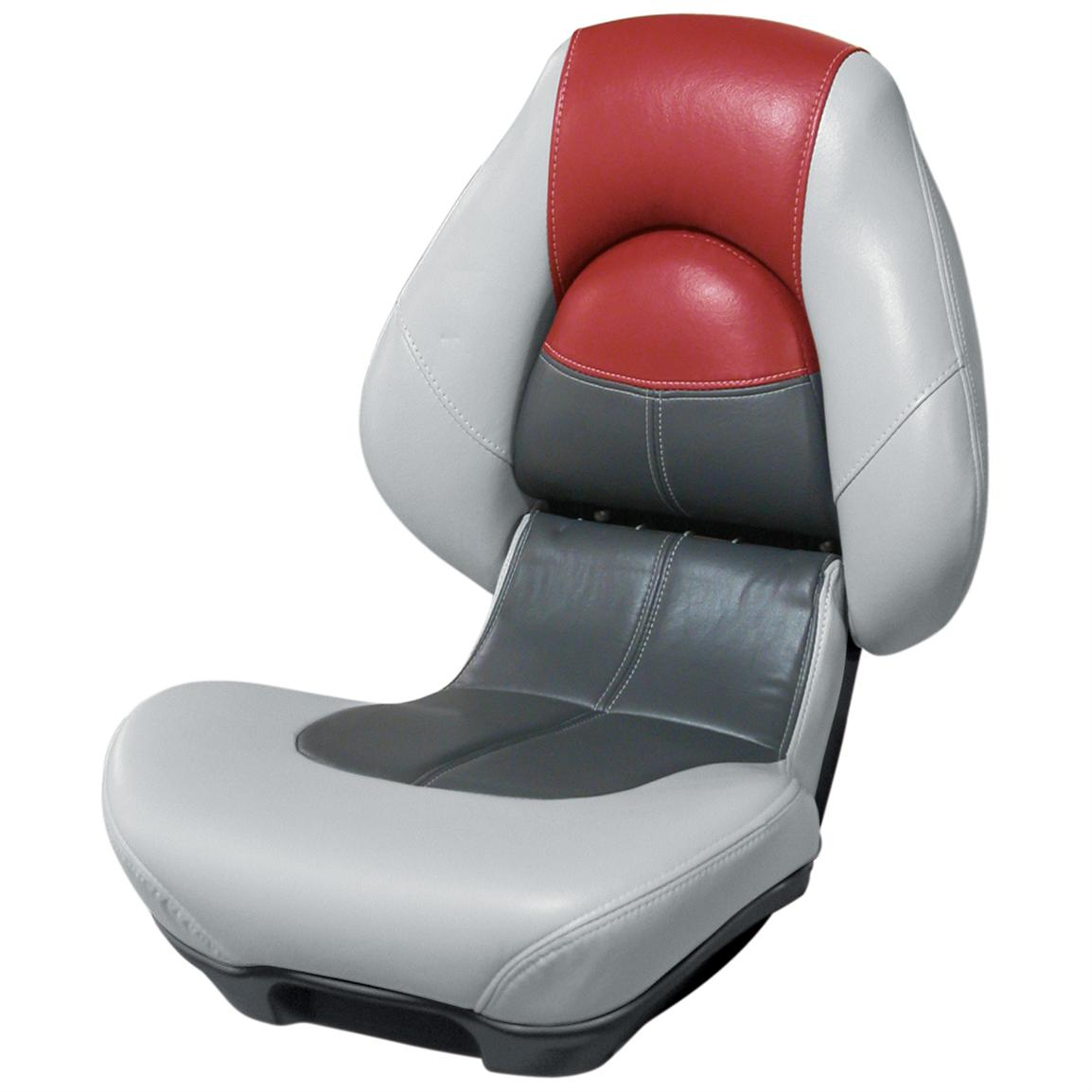 Wise® Blast-Off™ Series Centric 2 Folding Boat Seat, Grey / Charcoal / Red