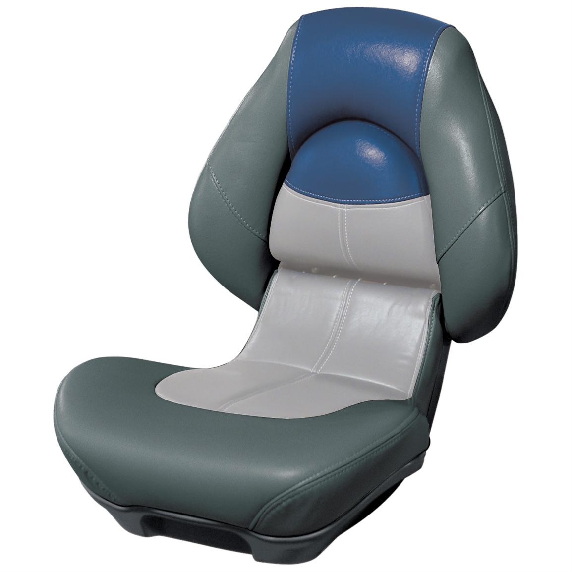 Wise® Blast-Off™ Series Centric 2 Folding Boat Seat, Charcoal / Green / Blue