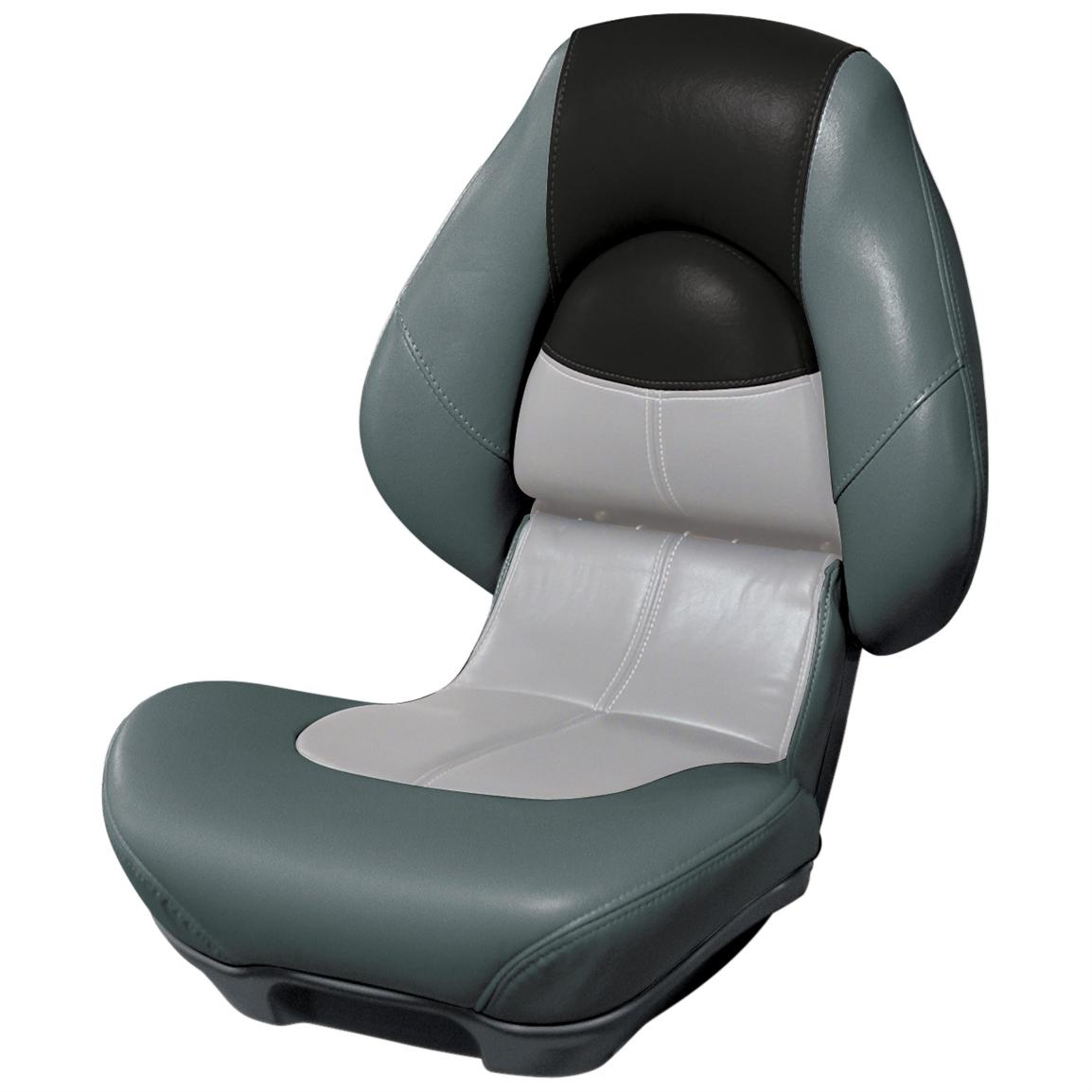Wise® Blast-Off™ Series Centric 2 Folding Boat Seat, Charcoal / Grey / Black