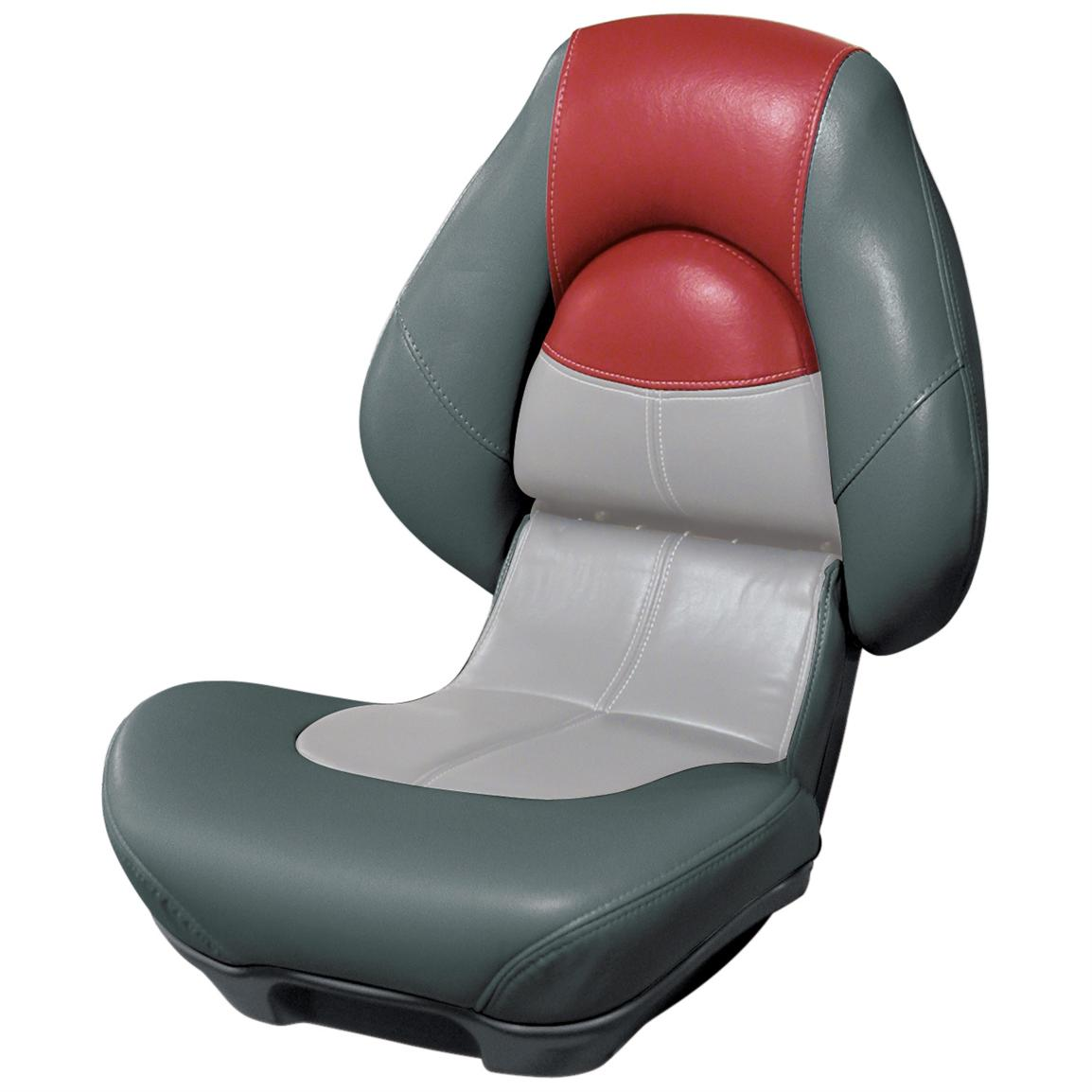 Wise® Blast-Off™ Series Centric 2 Folding Boat Seat, Charcoal / Grey / Red