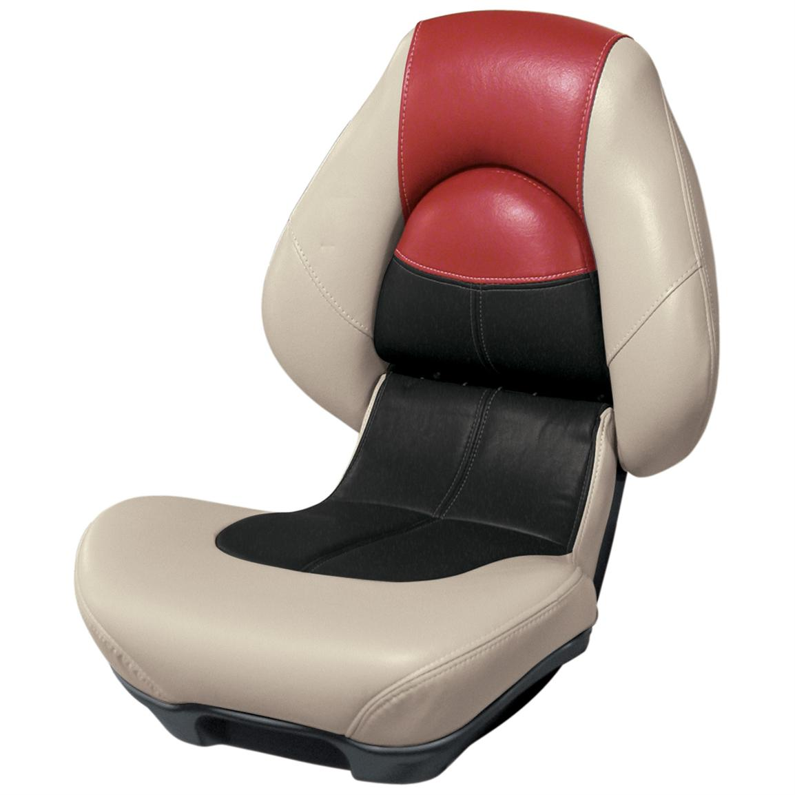 Wise® Blast-Off™ Series Centric 2 Folding Boat Seat, Mushroom / Black / Red