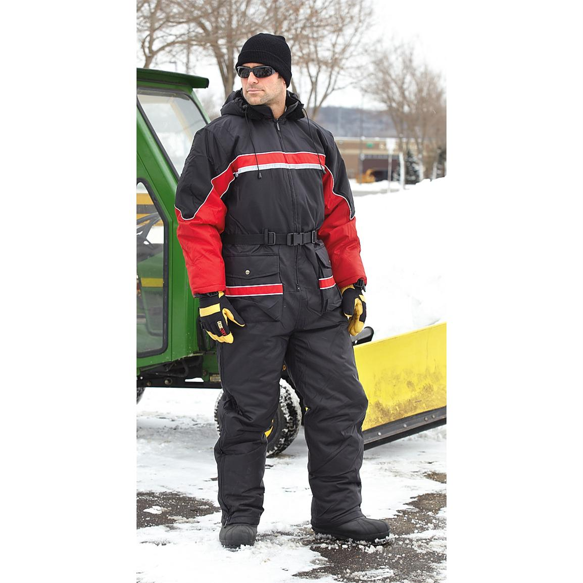 Guide Gear Men's One-Piece Snow Suit, Black / Red