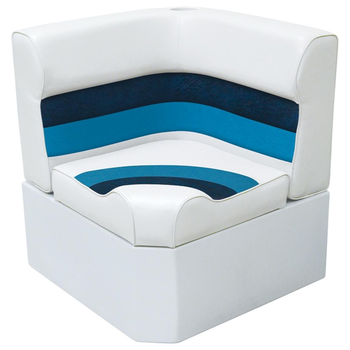 Wise® Deluxe Corner Pontoon Seat, White / Navy / Blue