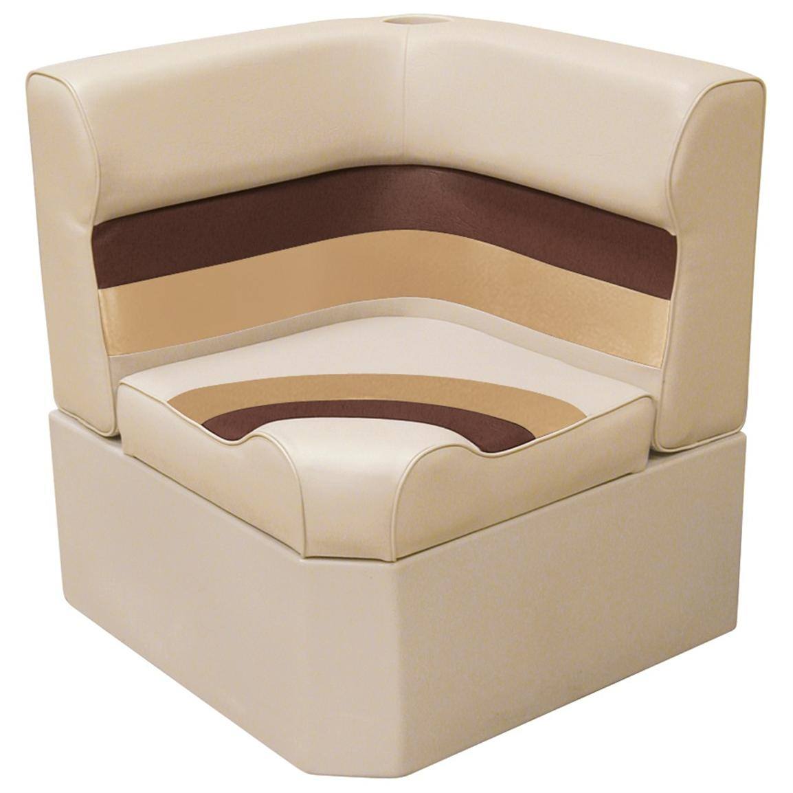 Wise® Deluxe Corner Pontoon Seat, Sand / Chestnut / Gold