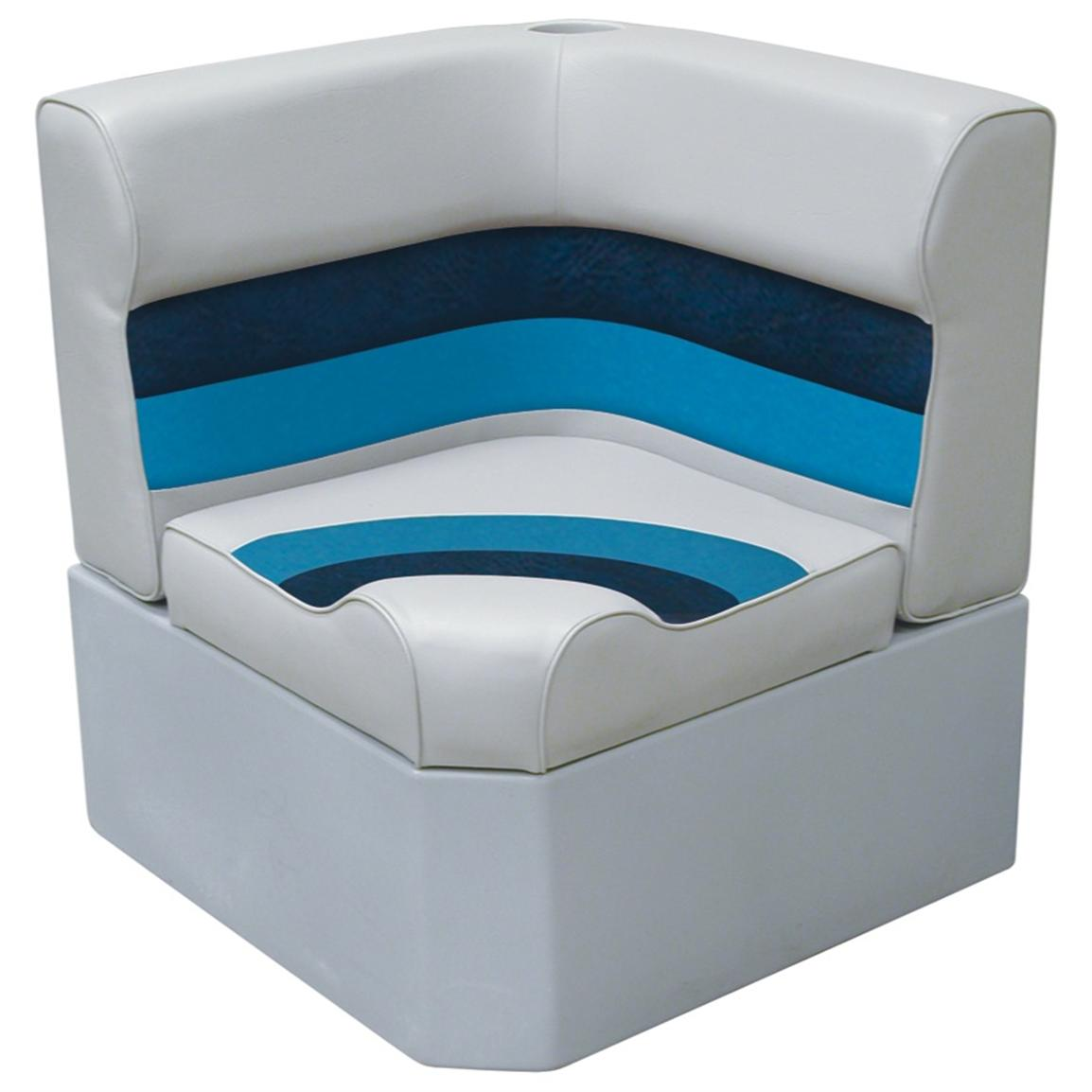 Wise® Deluxe Corner Pontoon Seat, Grey / Navy / Blue